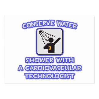 水を節約して下さい。 心血管の技術のシャワー ポストカード