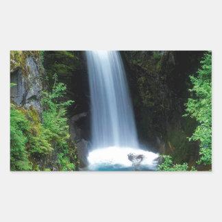 水クリスティーンの滝ワシントン州 長方形シール