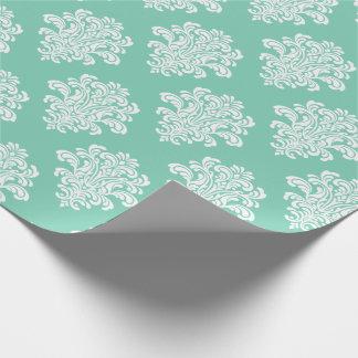 水パターンの白いダマスク織 ラッピングペーパー