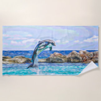水フラクタルの芸術のイルカの素早く書き留めること ビーチタオル