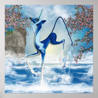 水ユニコーンのKirinのファンタジーの芸術 ポスター