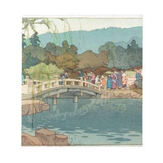水ヴィンテージの日本のな芸術Ukiyo-E上の橋 ノートパッド