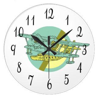 水上飛行機のスケッチ ラージ壁時計