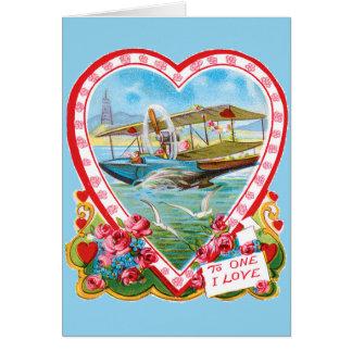 水上飛行機のバレンタイン カード