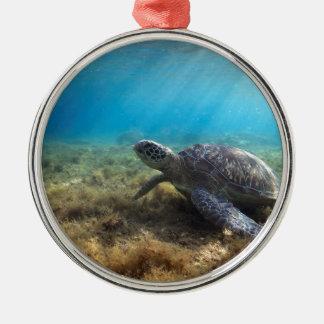 水中にリラックスしている緑のウミガメ メタルオーナメント