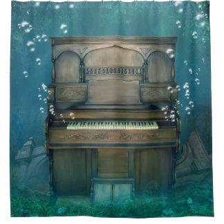水中に沈められたピアノシャワー・カーテン シャワーカーテン