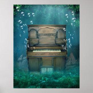 水中に沈められたピアノポスター ポスター