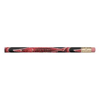 水中に泳いでいる赤いチョウザメ 鉛筆