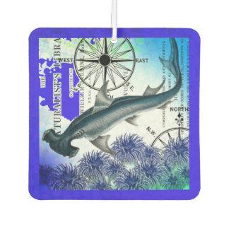 水中のシュモクザメの航海のなコラージュの青 カーエアーフレッシュナー