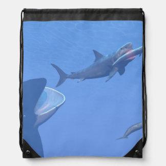 水中クジラおよびmegalodon - 3Dは描写します ナップサック