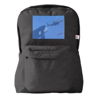 水中クジラおよびmegalodon - 3Dは描写します American Apparel™バックパック