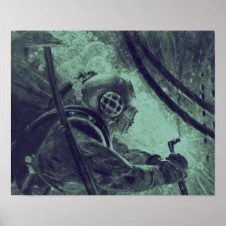 水中ヴィンテージのスキューバダイバーの産業溶接 ポスター
