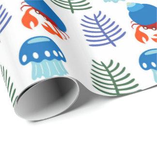 水中動物パターン包装紙 ラッピングペーパー