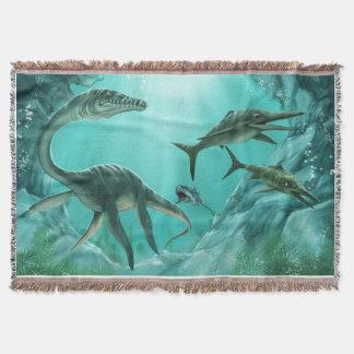 水中恐竜によって編まれるブランケット スローブランケット