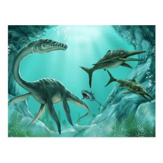 水中恐竜の郵便はがき ポストカード
