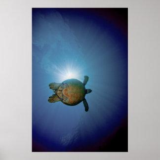 水中Turtle|アンダマン海、タイ ポスター