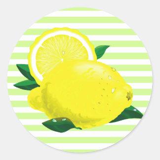 水分が多いレモンステッカー ラウンドシール