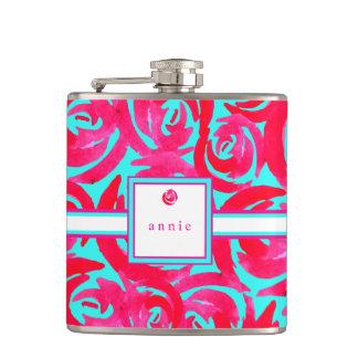 水及びピンクの水彩画のバラ フラスク