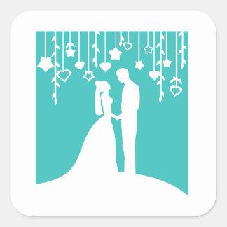 水及び白い新郎新婦の結婚式のシルエット スクエアシール