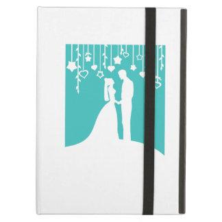 水及び白い新郎新婦の結婚式のシルエット iPad AIRケース
