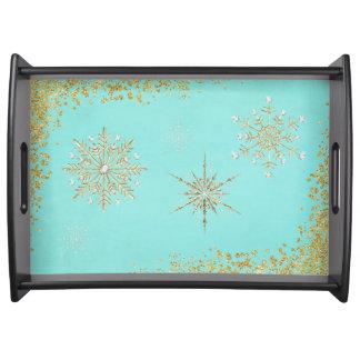 水及び金ゴールドのクリスマスの雪片 トレー
