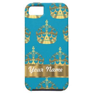 水及び金ゴールドの王冠パターン iPhone SE/5/5s ケース