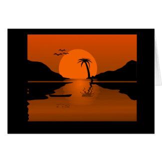 水場面のオレンジか黒い日没 カード