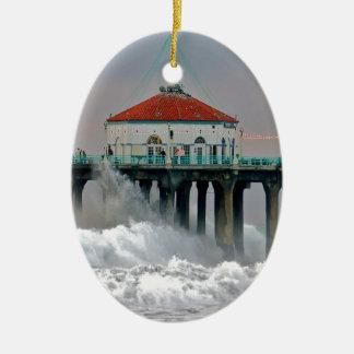 水嵐の潮衝突海岸桟橋 セラミックオーナメント