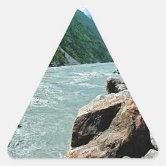 水川山の洪水銀行 三角形シール