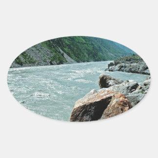 水川山の洪水銀行 楕円形シール
