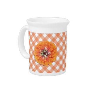 水差し-格子のオレンジ《植物》百日草 ピッチャー