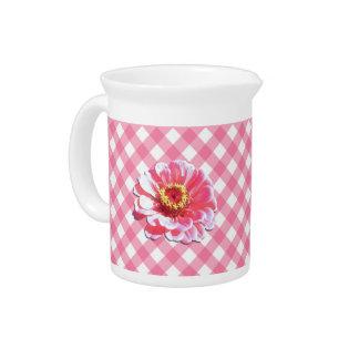 水差し-格子のピンクの《植物》百日草 ピッチャー