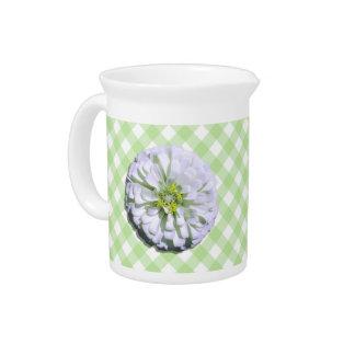 水差し-格子のレモン味の白い《植物》百日草 ピッチャー
