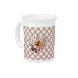 水差し-格子の最も淡い色のなピンクの《植物》百日草 ピッチャー