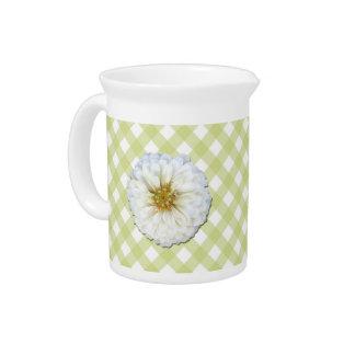 水差し-格子の白い《植物》百日草 ピッチャー