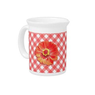 水差し-格子の赤い《植物》百日草 ピッチャー