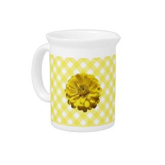 水差し-格子の黄色い《植物》百日草 ピッチャー