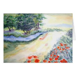水彩画からのBachの木そしてケシ カード