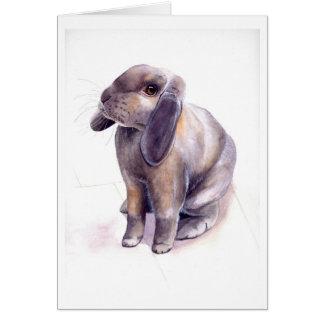 水彩画で絵を描かれるウサギ カード