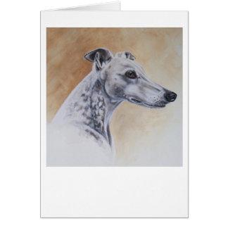 水彩画で絵を描かれるグレイハウンド犬 カード