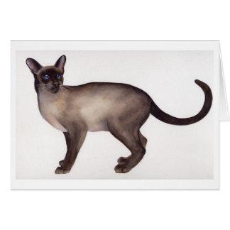 水彩画で絵を描かれるシャム猫 カード