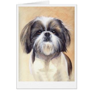 水彩画で絵を描かれるシーズー(犬)のTzuのポートレート カード