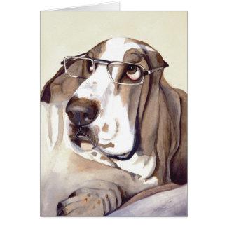水彩画で絵を描かれるバセットの猟犬 カード
