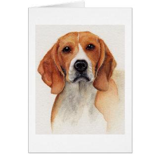 水彩画で絵を描かれるビーグル犬 カード