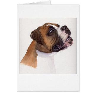 水彩画で絵を描かれるボクサー犬 カード