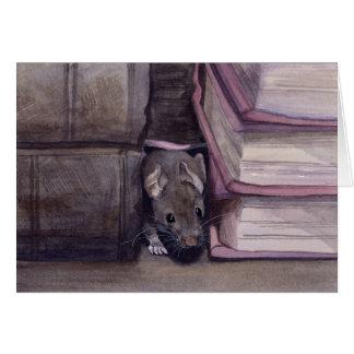 水彩画で絵を描かれる本のマウス カード
