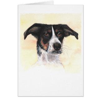 水彩画で絵を描かれる犬 カード