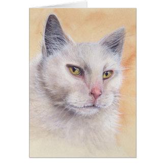 水彩画で絵を描かれる猫 カード