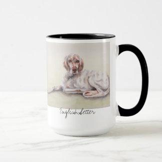 水彩画で絵を描かれる英国セッター マグカップ