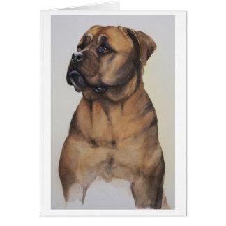 水彩画で絵を描かれるBullmastiff犬 カード